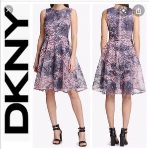 DKNY Womens Lace Fit & Flare Dress, purple.